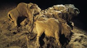 Museum of Artifacts: 14000 Years Old Bisons Sculpture Found in Le d'Audoubert Cave, Ariege, France