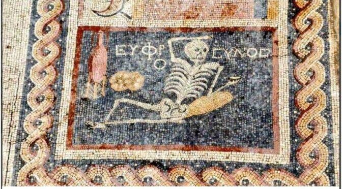 """Cheery Skeleton Mosaic Found in Turkey Says, """"Enjoy Your Life"""""""