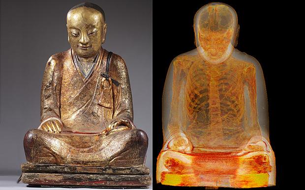 Mummified monk revealed inside 1,000-year-old Buddha statue